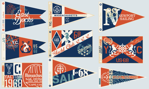 Yachting and sailing club nautical pennant flags vintage vector collection