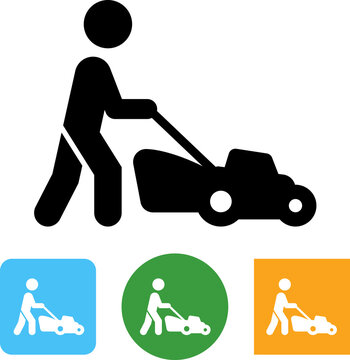 Person Mowing The Lawn Vector Icon