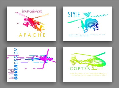Art image set of a helicopter. Minimal cover design. Conceptual vector drawn by color lines