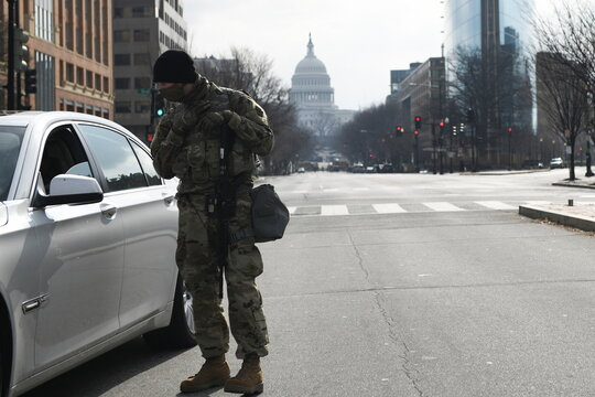 National Guard assists traffic in downtown Washington D.C., ahead of U.S. President-elect Joe Biden's inauguration