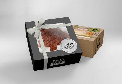 2 Flip Top Cake Boxes Packaging Mockup