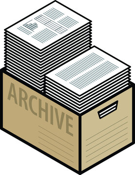 A plain cardboard archive box with two tall stacks of paper.