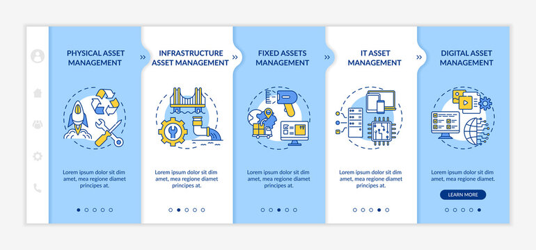 Investment management types onboarding vector template. Fixed assets and digital asset managing. Responsive mobile website with icons. Webpage walkthrough step screens. RGB color concept
