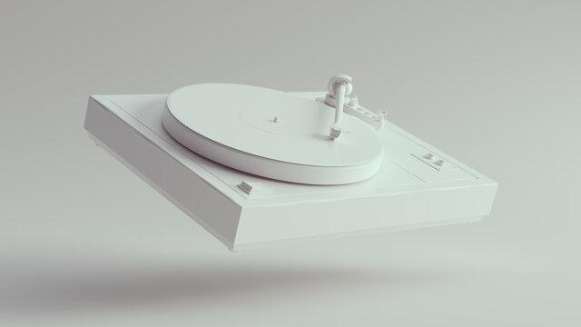 White Vintage Turntable Record Player Floating 3d illustration render