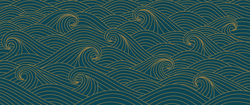 Traditional Japanese wave pattern background vector.  luxury line arts for prints, fabric, poster and wallpaper.