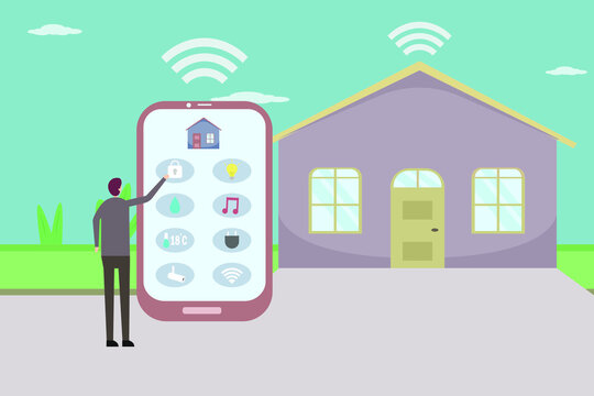 Young man using smart phone to control his home 2D flat vector concept for banner, website, illustration, landing page, flyer, etc