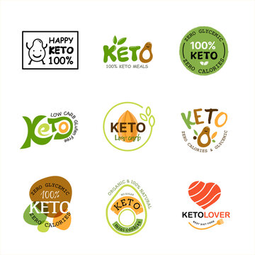 Ketogenic Diet Logo. Collection of Keto logo, Healthy food icon design for Ketogenic Diet product and food menu. Vector illustration.
