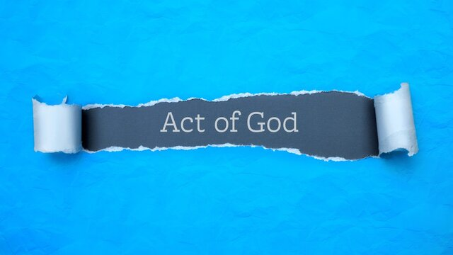 Act of God. Blue torn paper banner with text label. Word in gray hole.