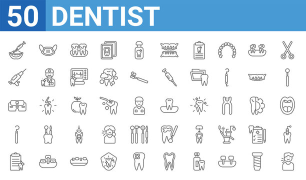 set of 50 dentist web icons. outline thin line icons such as sick boy,filler,medical prescription,dental probe,clinic,sealants,dentist mask,occlusal. vector illustration