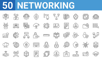 set of 50 networking web icons. outline thin line icons such as cloud server,internet connection,wlan,cloud,email security,bot,airpods,wireless connection. vector illustration - fototapety na wymiar