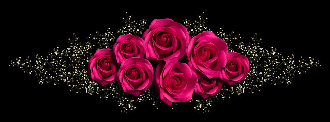 Printed kitchen splashbacks Roses floral ornament with pink roses and branch with little white flowers. Isolated on black background