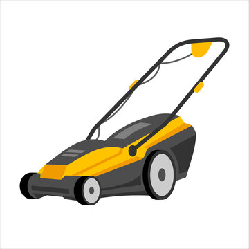 Push Lawn mower vector illustration. Black and yellow lawn mower with a grass catcher. Object isolated on a white background, clipart. Lawnmower with wheels and handle in cartoon style.