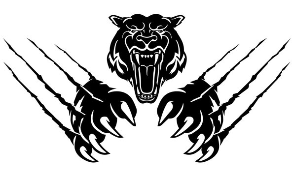 Tiger Head Rip Claw, Wild Predator Illustration