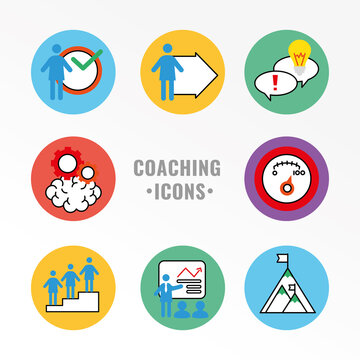 business people coaching and eight with lettering half line style icons vector illustration design