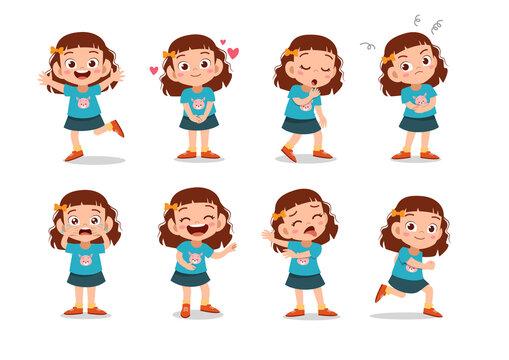 kid child expression vector illustration set bundle