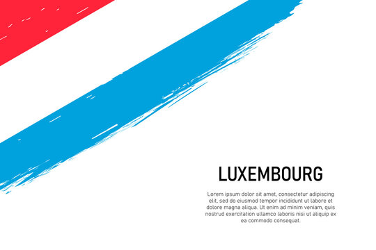 Grunge styled brush stroke background with flag of Luxembourg