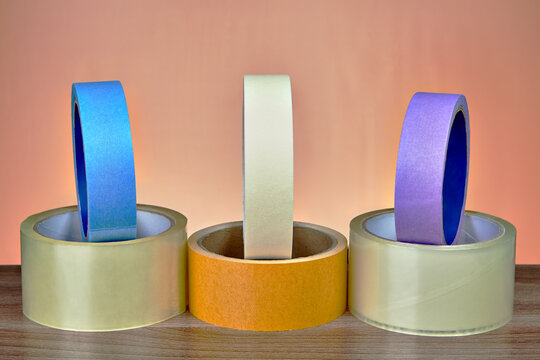 Multi Colored Adhesive Tapes On Table
