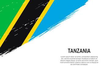 Obraz Grunge styled brush stroke background with flag of Tanzania - fototapety do salonu