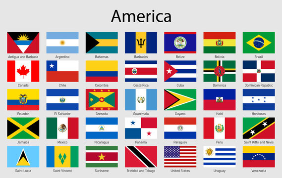 Set of flags American countries, All America flag