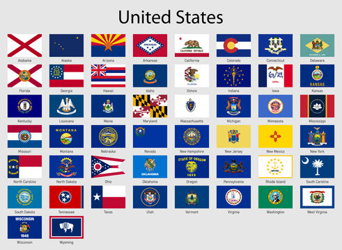 Set Flags of the states of USA , All United States regions flag