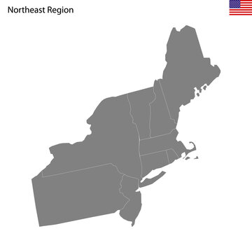 High Quality map of Northeast region of United States of America with borders