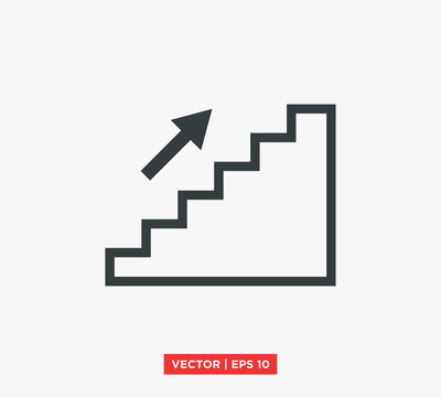 Stairs Up Icon Vector Illustration Design Editable Resizable EPS 10