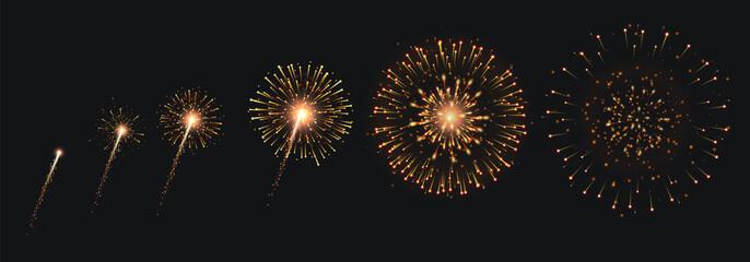 Fototapeta Pyrotechnics And Fireworks Set obraz