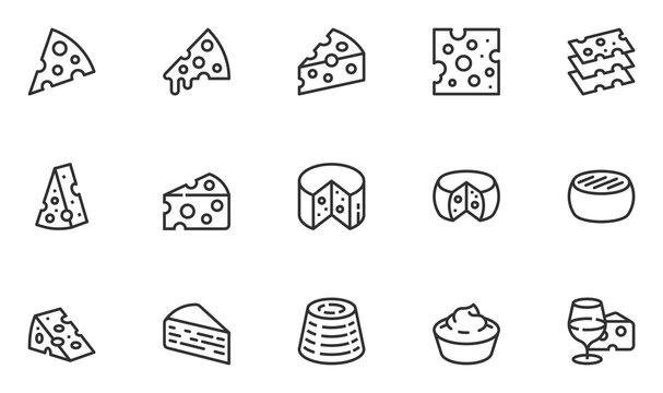 Set of Vector Line Icons Related to Cheese. Parmesan, Mozzarella, Dutch, Ricotta, Blue Chees, Cream Cheese. Editable Stroke. 48x48 Pixel Perfect.