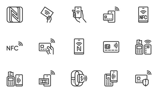 Set of Vector Line Icons Related to NFC. Payment by Smartphone via Pin Pad. NFC Communication, Online Payment, Wireless Payment. Editable Stroke. 48x48 Pixel Perfect.