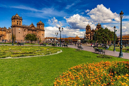 Peru. Cusco, historic city of the Inca Empire. Cusco's main square (Plaza de Armas). The Cathedral Basilica (on the left side) and the Church of the Society of Jesus in the background