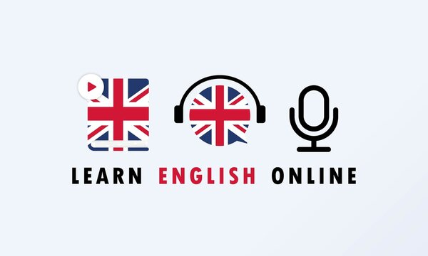 Learn English online banner. Digital course. Online education. Online language courses. Language practice. Vector EPS 10. Isolated on background
