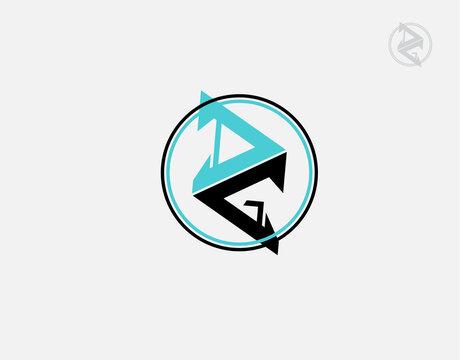 Letter DG logotype on white background in vector illustration