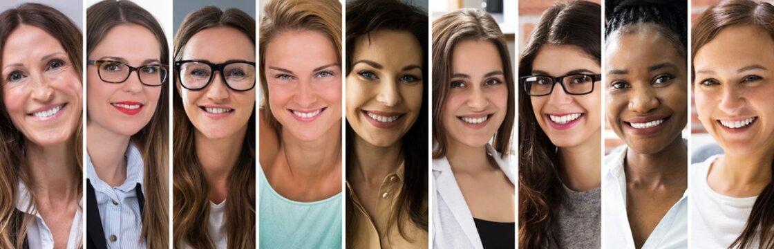 Multicultural Women Faces Photo Collage. Portrait