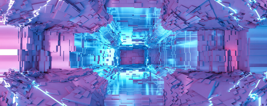 Illustration of a futuristic sci-fi space staion background 3d render illustration