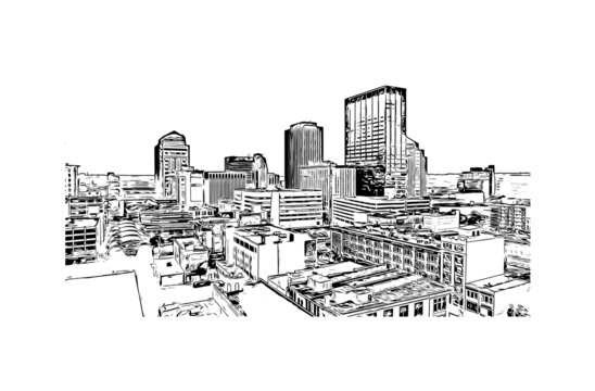 Building view with landmark of Dayton is a city in western Ohio. Hand drawn sketch illustration in vector.
