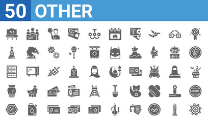 set of 50 other web icons. filled glyph icons such as settings,blackboard with basic calculations,mosque moon and star,broken vase,small shelf,null,limited liability,mosque and moon. vector Wall mural