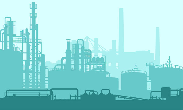 Vector illustration of a chemical processing plant with pipelines and chimneys. Suitable for design background elements from energy companies, power plants, and production plants. Oil and gas energy.