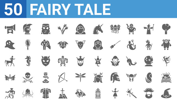 set of 50 fairy tale web icons. filled glyph icons such as witch hat,fanfare,giant,valkyrie,centaur,ghost,knight,karakasakozou. vector illustration