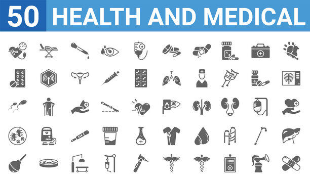set of 50 health and medical web icons. filled glyph icons such as patch,blood pressure,enema,germs,sperm,tablets,stretcher,optometrist. vector illustration