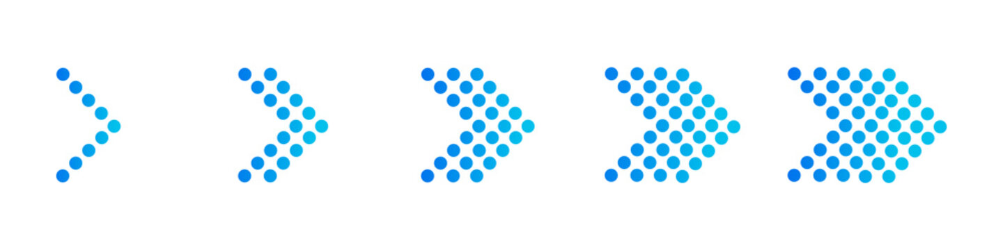 Set of blue arrows. Vector illustration collection of arrows
