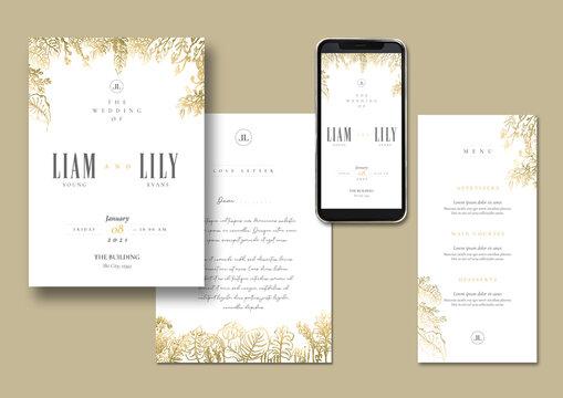 Elegant Gold Floral Hand Drawn Invitation Design Template