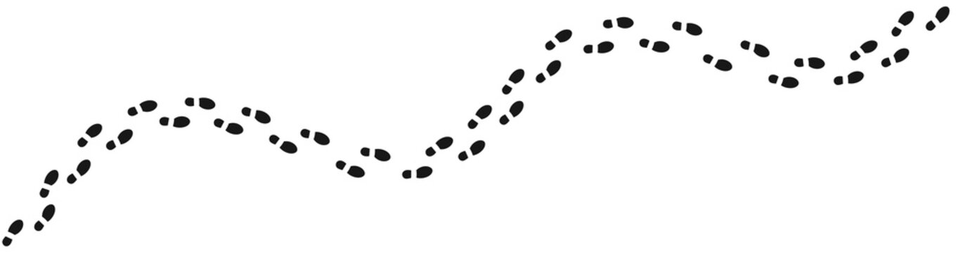 Human footprints tracking path on white background, Shoes trail track vector illustrations