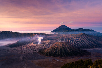 Beautiful sunrise at Mount Bromo , the active volcano in Bromo Tengger Semeru National Park, East Java, Indonesia