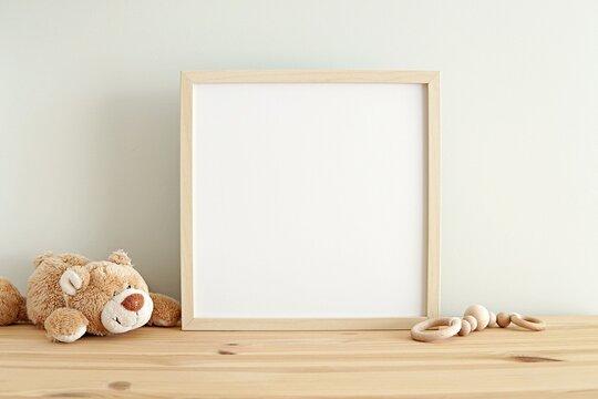 Square nursery art frame mockup, empty wooden frame on shelf in kids room interior.