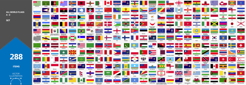 288 World Country Flags Full Set A-Z. Stock Vector