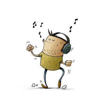 man with headphones on his head is listening to music while dancing and whistling. isolated