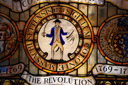 A stained glass window in the Massachusetts State House in Boston honors the Revolutionary War soldiers
