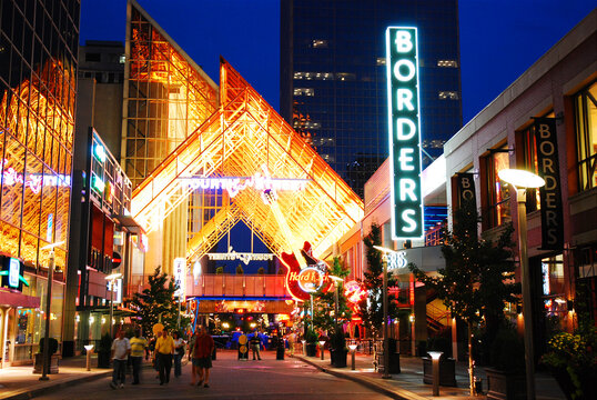 The Fourth Street Live district in Louisville Kentucky is the center for live music and nightlife in the city