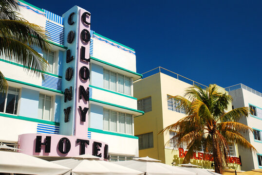 The Colony Hotel, on of many Art Deco style hotels and buildings found in South Beach, Miami Beach