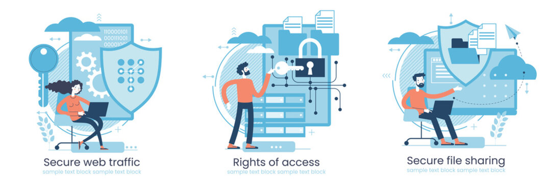 Secure data transmission concept. Access right. Safe file sharing. Protected web traffic. VPN. Analytical traffic assessment. Sharing documents.